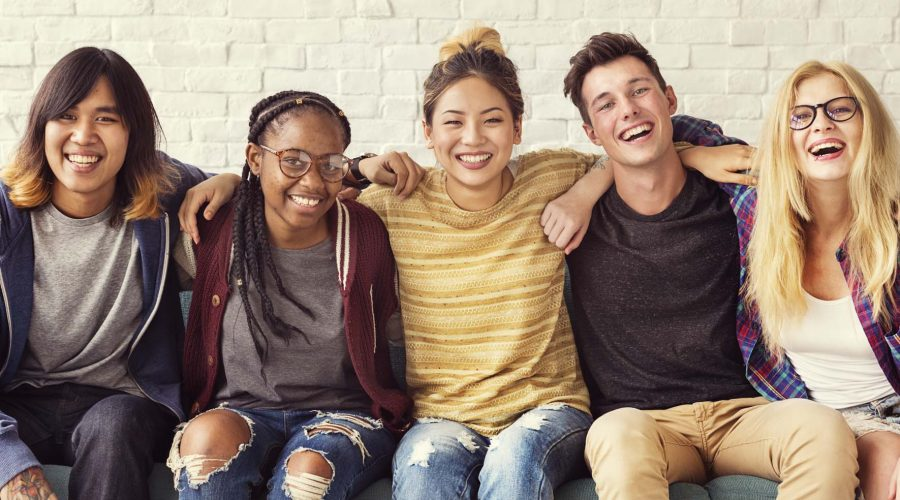 Happy multi-ethnic students
