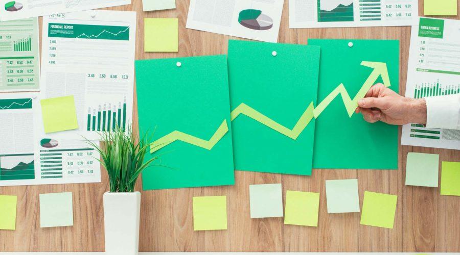 Businessman reporting successful chart