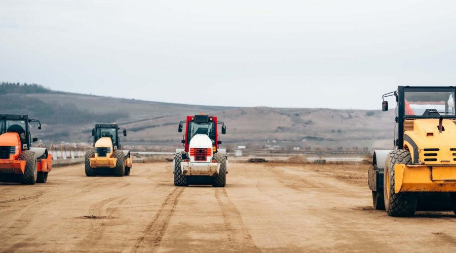 Vibratory Compactor during road and highway construction. Indust