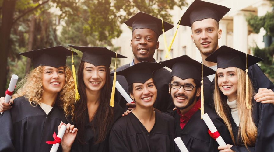 Multiethnic students on graduation ceremony