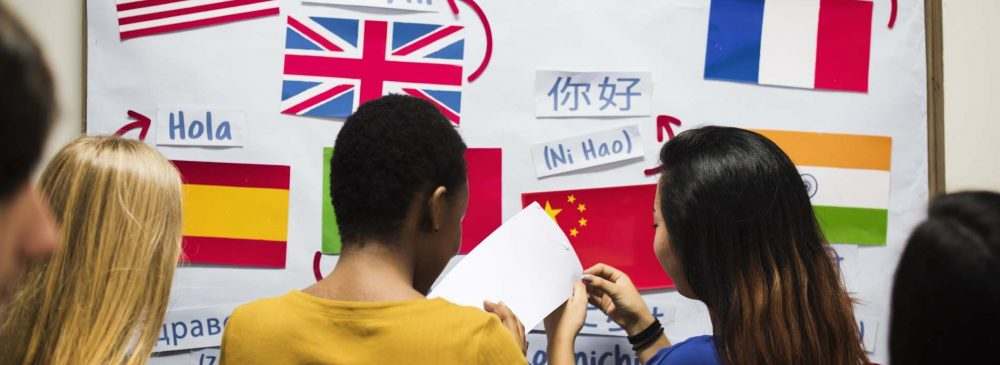 Muth-ethnic students at the national flags board