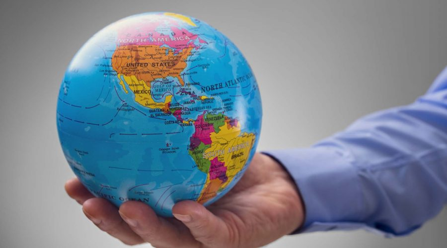 Politician holding the world in his hands