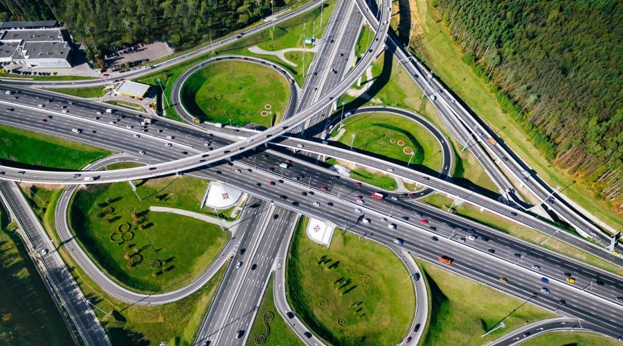 Aerial view of a massive highway road intersection in Moscow cit