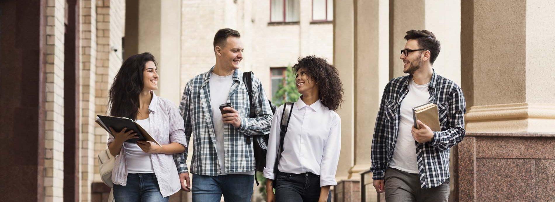 Group of students walking at campus